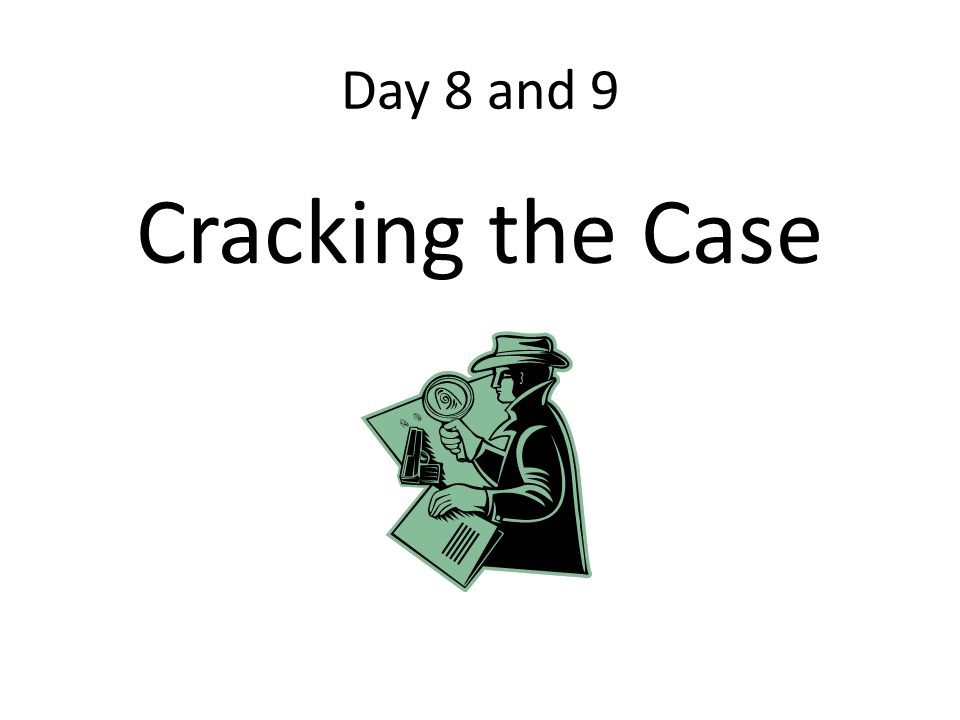 Day 8 and 9 Cracking the Case
