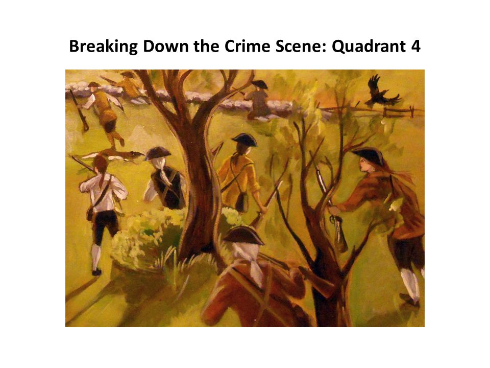 Breaking Down the Crime Scene Art by Chelsea Geiger, Artseaink.com, based on Battle at Concord.