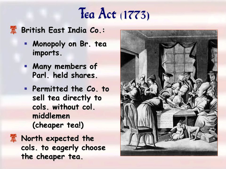 Tea Act (1773) 8 British East India Co.:  Monopoly on Br. tea imports.  Many members of Parl. held shares.  Permitted the Co. to sell tea directly