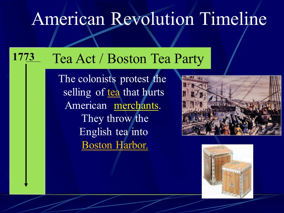 American Revolution Timeline 1773 Tea Act / Boston Tea Party The colonists protest the selling of tea that hurts American merchants.