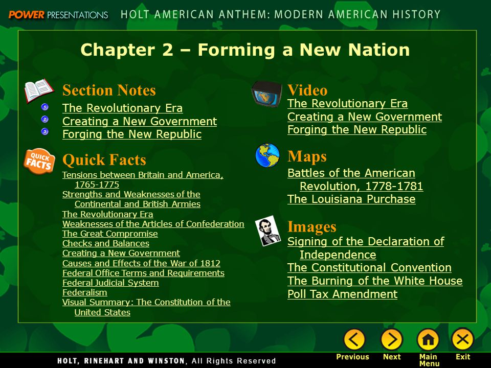 Chapter 2 – Forming a New Nation Section Notes The Revolutionary Era Creating a New Government Forging the New Republic Video Images Signing of the De