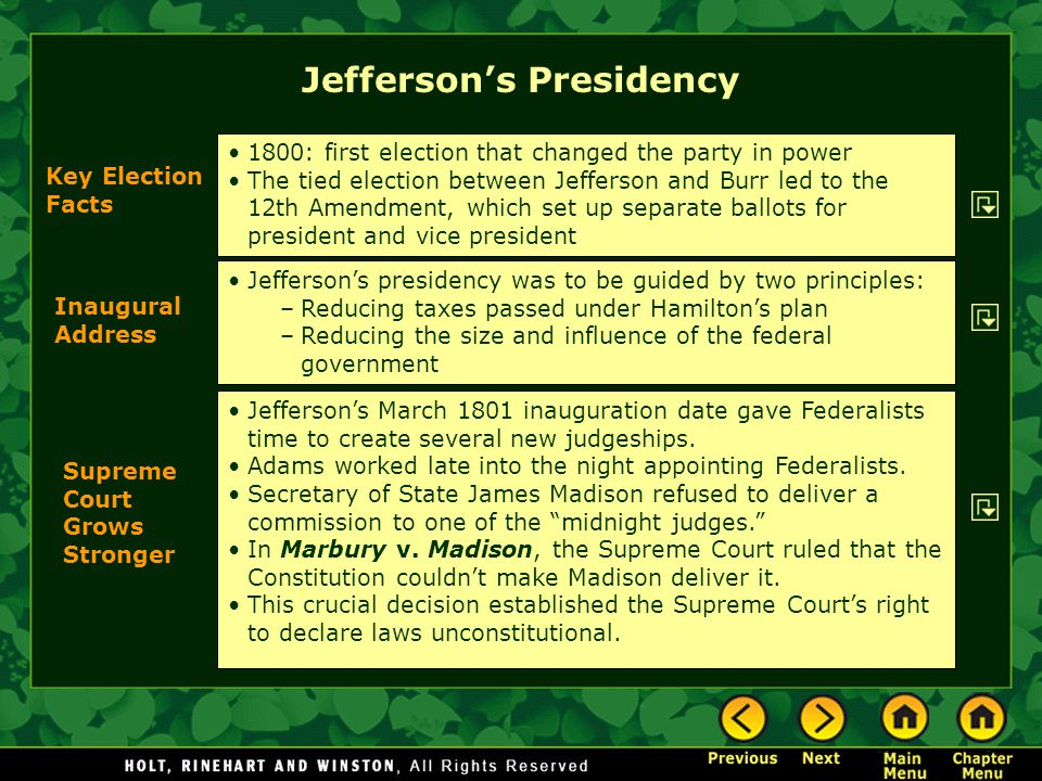 Inaugural Address Supreme Court Grows Stronger Key Election Facts 1800: first election that changed the party in power The tied election between Jeffe