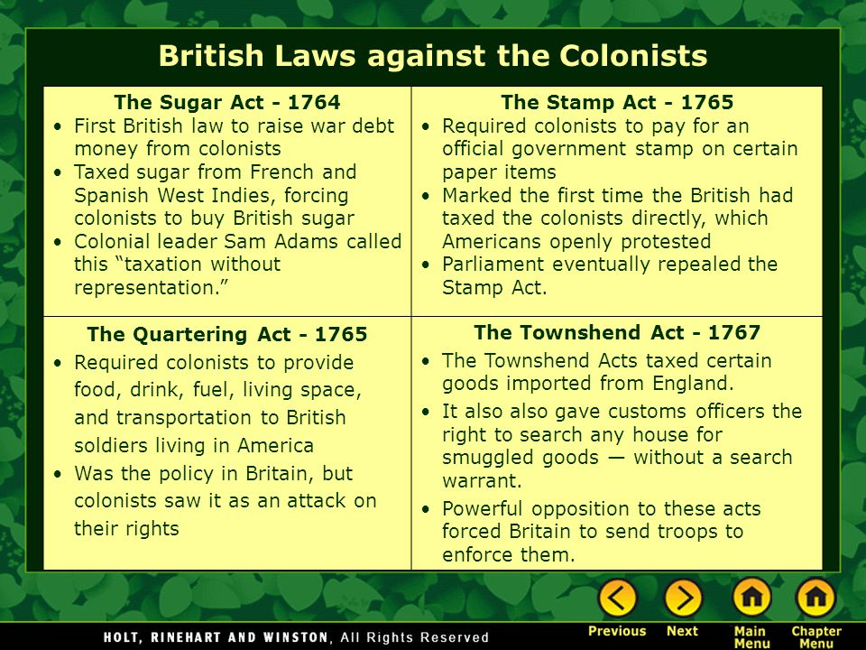 The Boston Tea Party In 1773, the Tea Act gave the British East India control over the tea market.