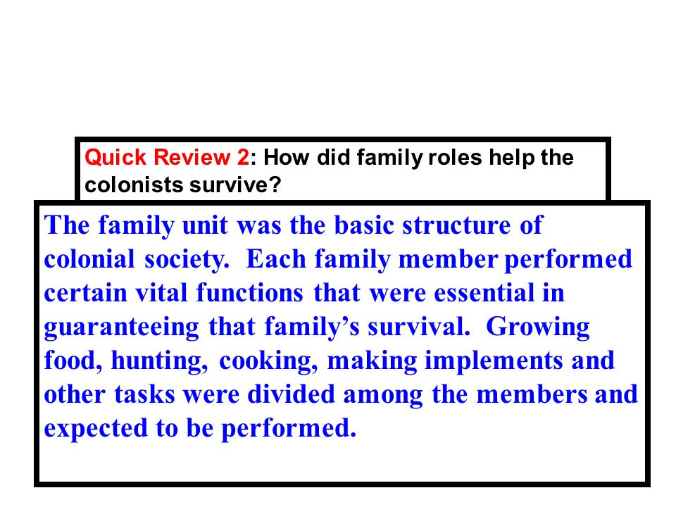 32 Quick Review 2: How did family roles help the colonists survive.