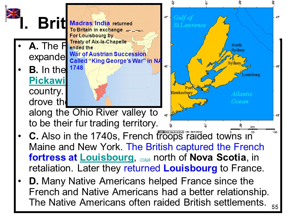 55 I.British-French Rivalry (Pages 116-118) A.