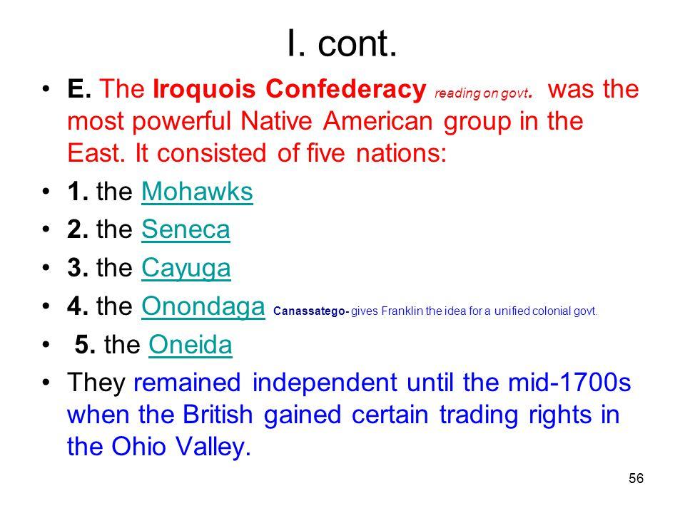 56 I.cont. E. The Iroquois Confederacy reading on govt.