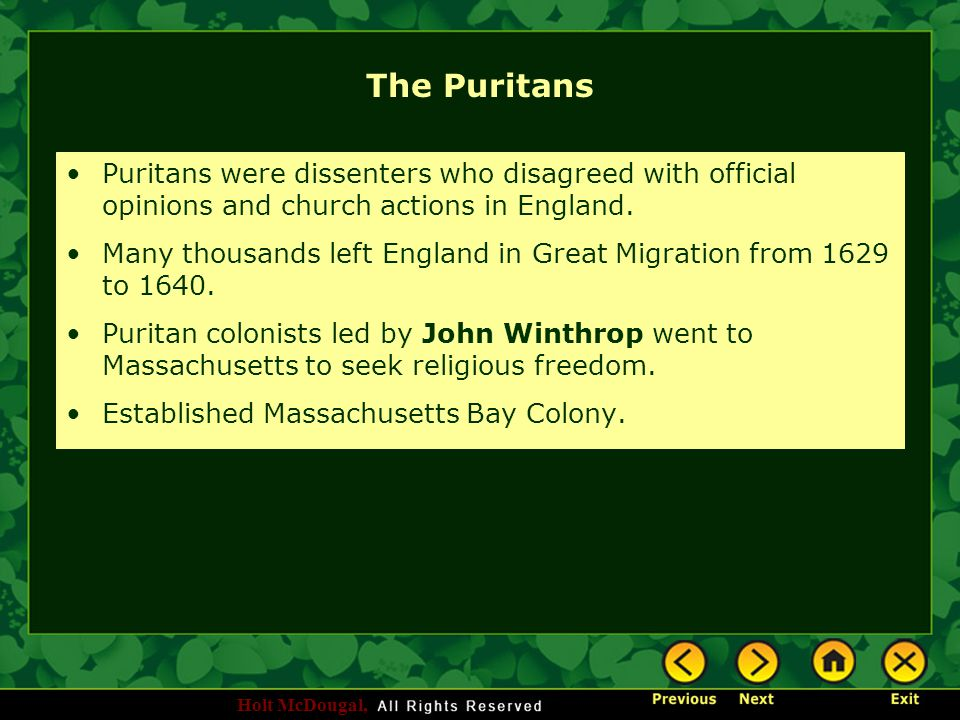 Holt McDougal, The Puritans Puritans were dissenters who disagreed with official opinions and church actions in England. Many thousands left England i