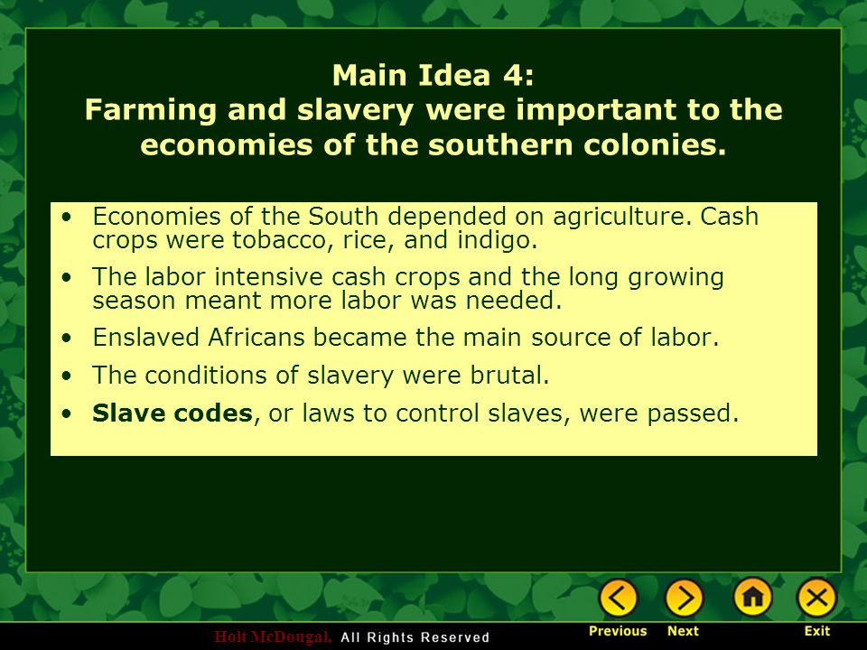 Holt McDougal, Main Idea 4: Farming and slavery were important to the economies of the southern colonies. Economies of the South depended on agricultu