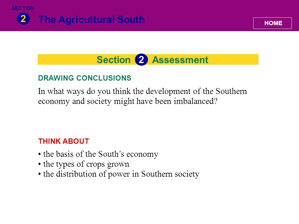 The Agricultural South 2 Section In what ways do you think the development of the Southern economy and society might have been imbalanced? DRAWING CON