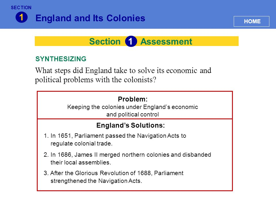 Section England and Its Colonies 1 Assessment What steps did England take to solve its economic and political problems with the colonists? SYNTHESIZIN