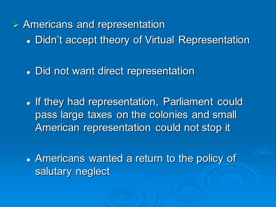  Americans and representation Didn't accept theory of Virtual Representation Didn't accept theory of Virtual Representation Did not want direct repre