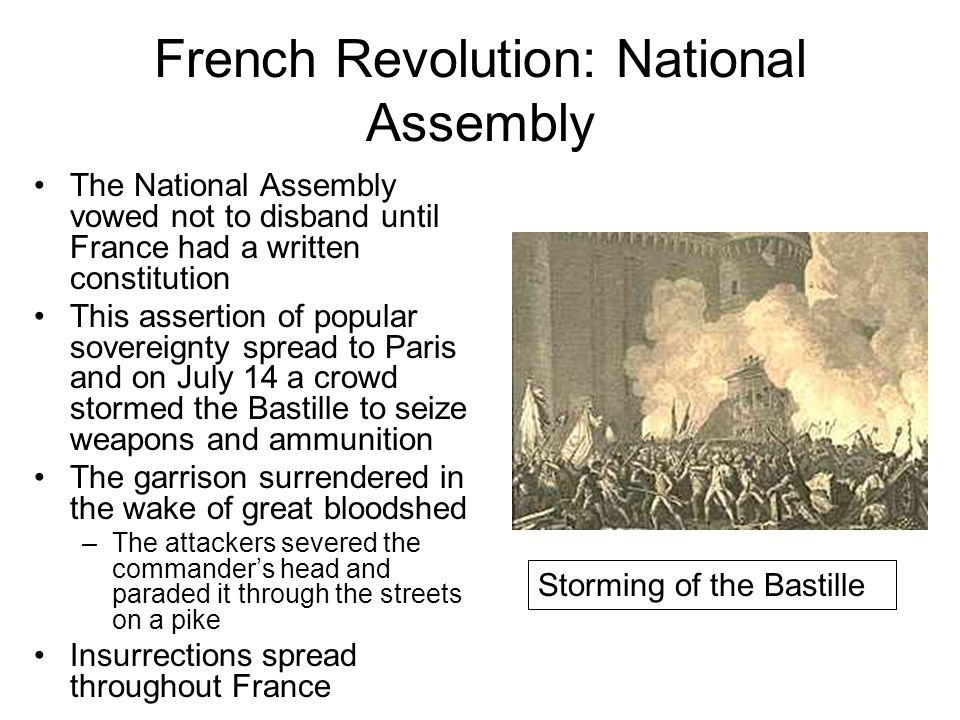 French Revolution: National Assembly The National Assembly vowed not to disband until France had a written constitution This assertion of popular sove