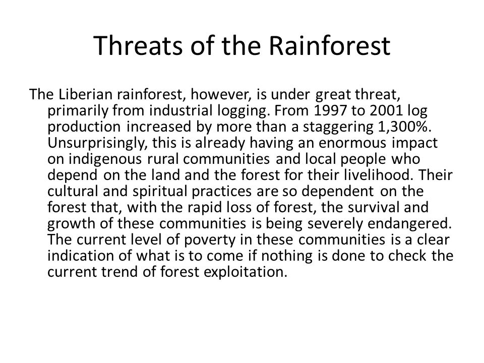 Threats of the Rainforest The Liberian rainforest, however, is under great threat, primarily from industrial logging. From 1997 to 2001 log production
