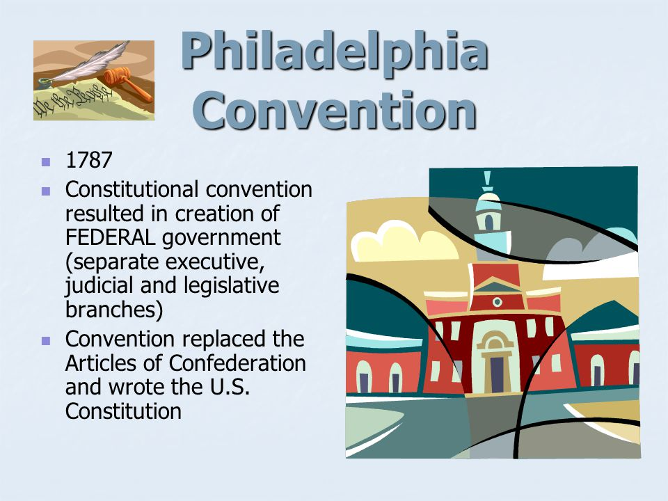 1787 U.S. Constitution written at Constitutional Convention in Philadelphia Ratification of Constitution and Federalist Papers in 1788.