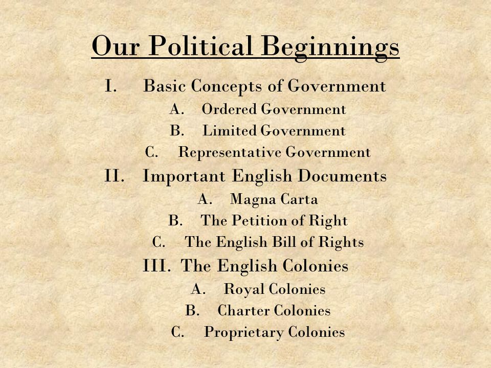 Our Political Beginnings I.Basic Concepts of Government A.Ordered Government B.Limited Government C.Representative Government II.Important English Doc
