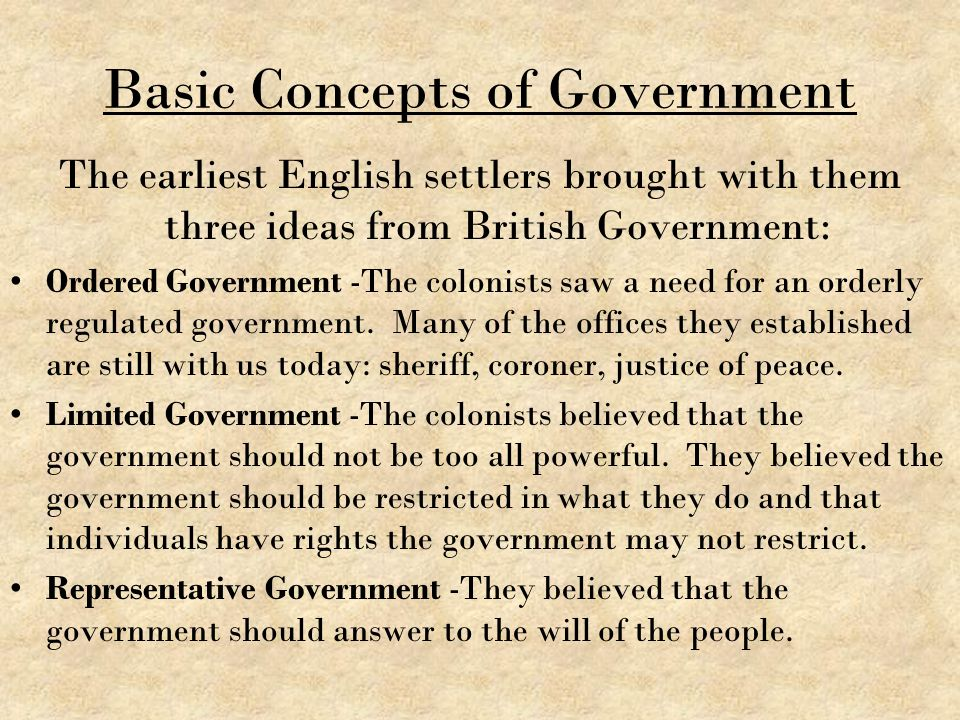Basic Concepts of Government The earliest English settlers brought with them three ideas from British Government: Ordered Government -The colonists sa