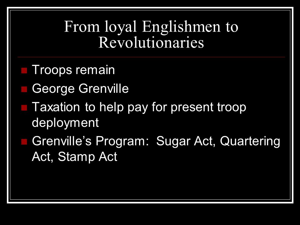 Stamp Act, 1765 Affected many colonials Creation of the Sons of Liberty Debate over Parliament's right to tax Concept of Virtual representation