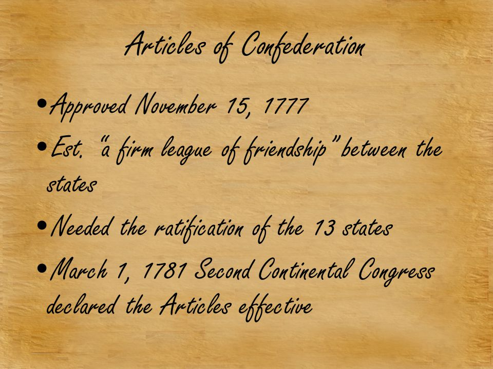 Articles of Confederation Approved November 15, 1777 Est.