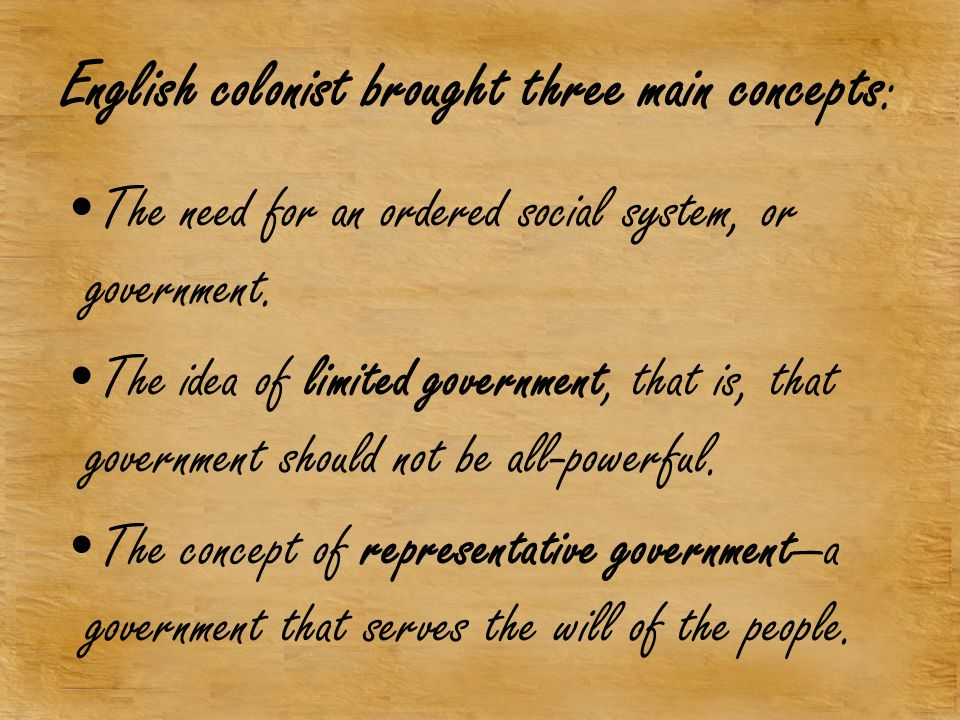 English colonist brought three main concepts: The need for an ordered social system, or government.