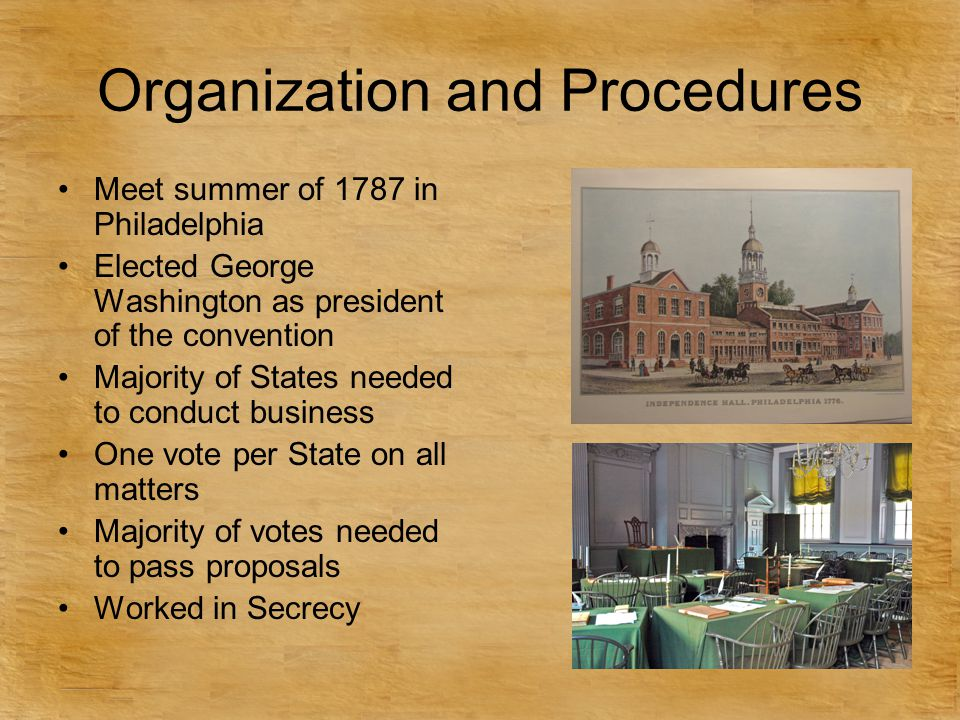 Organization and Procedures Meet summer of 1787 in Philadelphia Elected George Washington as president of the convention Majority of States needed to