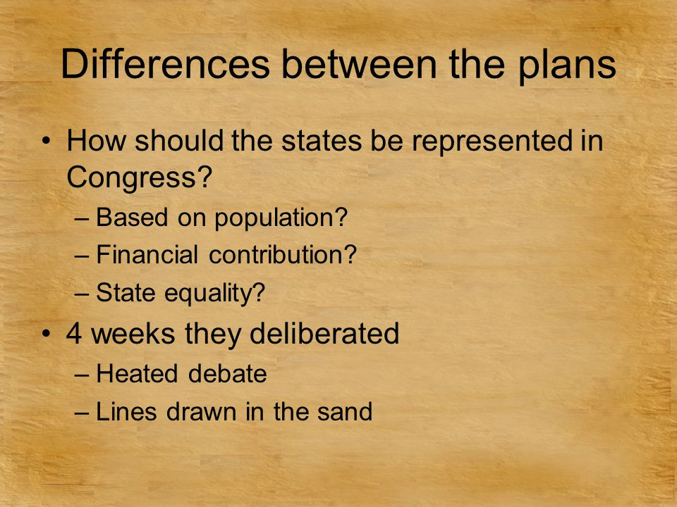 Differences between the plans How should the states be represented in Congress? –Based on population? –Financial contribution? –State equality? 4 week