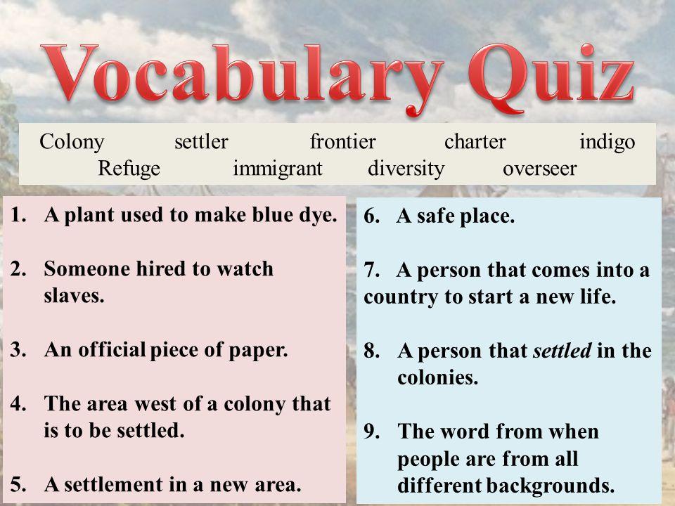Colonysettlerfrontiercharterindigo Refugeimmigrantdiversityoverseer