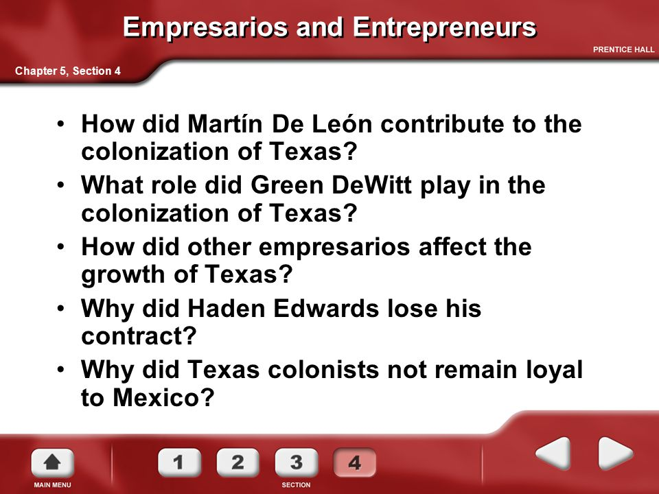 Empresarios and Entrepreneurs How did Martín De León contribute to the colonization of Texas? What role did Green DeWitt play in the colonization of T