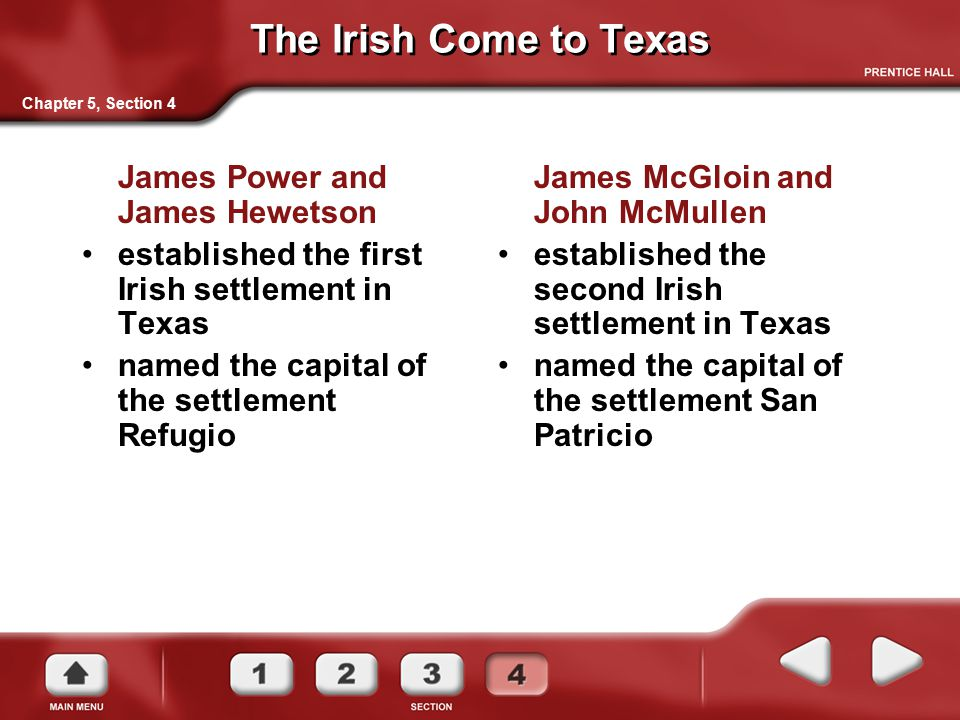 The Irish Come to Texas James Power and James Hewetson established the first Irish settlement in Texas named the capital of the settlement Refugio Cha