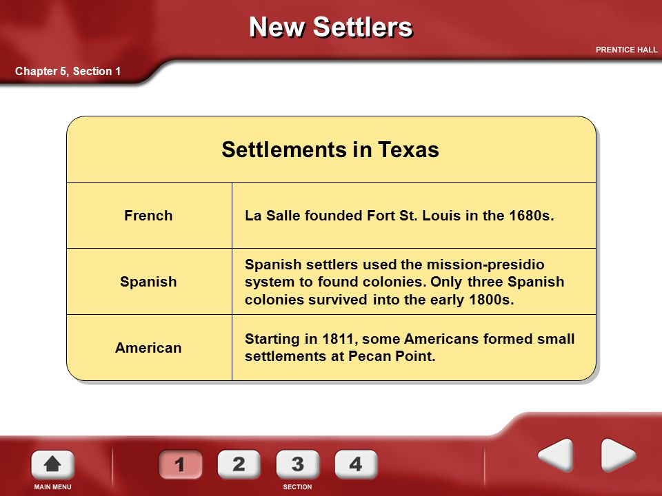 New Settlers Settlements in Texas La Salle founded Fort St. Louis in the 1680s. Spanish settlers used the mission-presidio system to found colonies. O