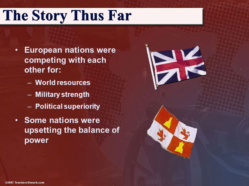 European nations were competing with each other for: –World resources –Military strength –Political superiority Some nations were upsetting the balanc