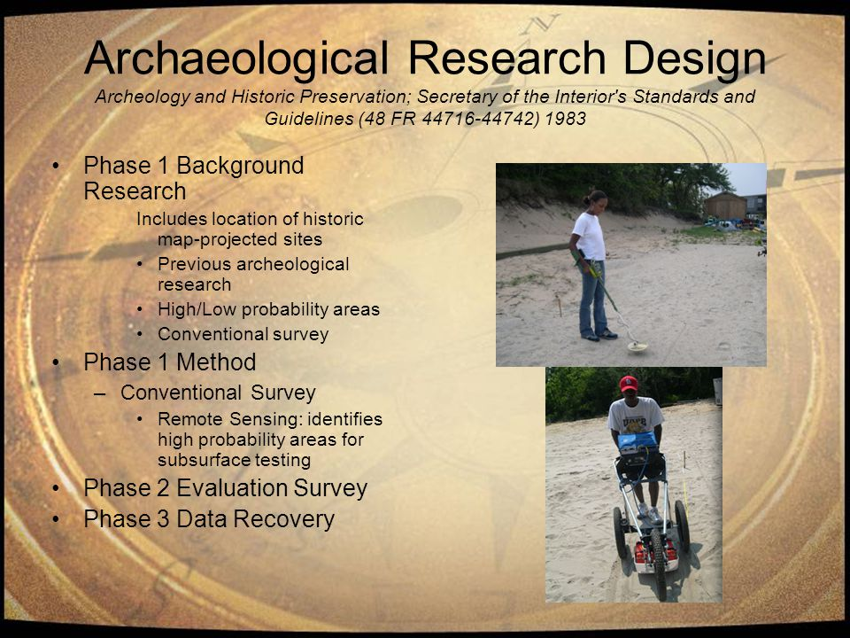 Archaeological Research Design Archeology and Historic Preservation; Secretary of the Interior's Standards and Guidelines (48 FR 44716-44742) 1983 Pha