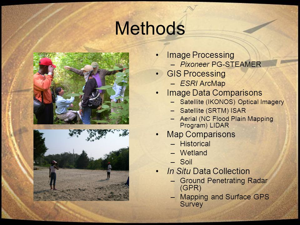 Methods Image Processing –Pixoneer PG-STEAMER GIS Processing –ESRI ArcMap Image Data Comparisons –Satellite (IKONOS) Optical Imagery –Satellite (SRTM) ISAR –Aerial (NC Flood Plain Mapping Program) LIDAR Map Comparisons –Historical –Wetland –Soil In Situ Data Collection –Ground Penetrating Radar (GPR) –Mapping and Surface GPS Survey