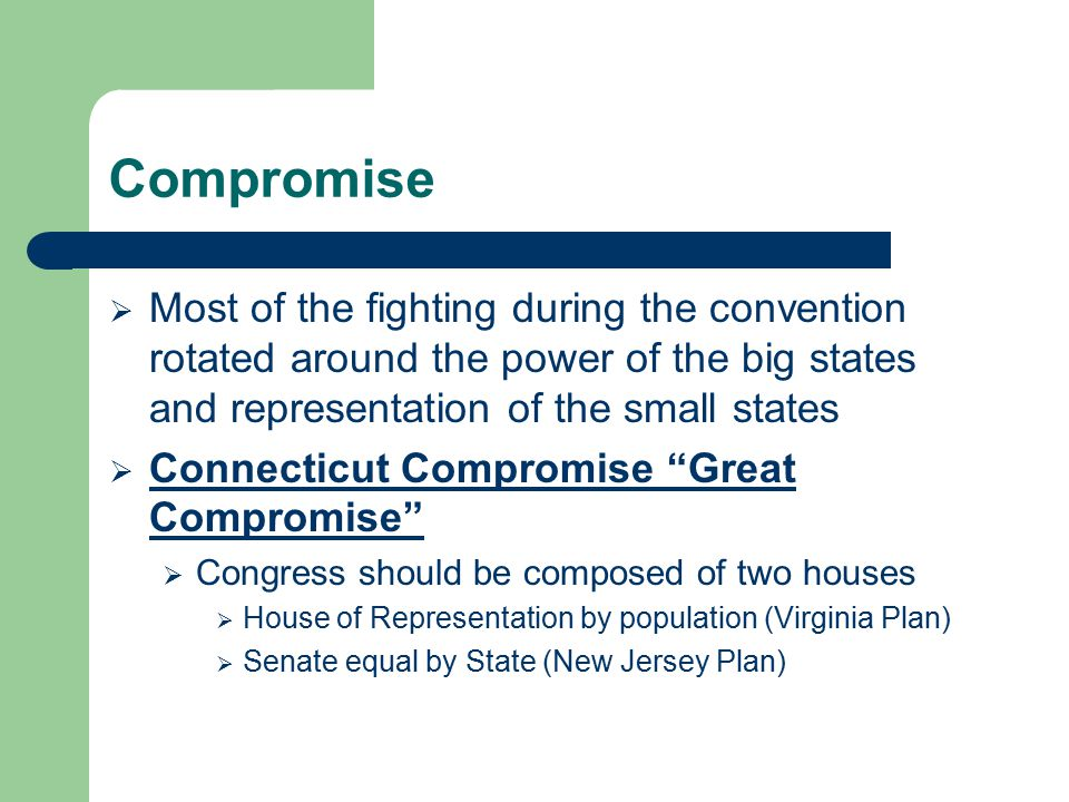 Compromise  Most of the fighting during the convention rotated around the power of the big states and representation of the small states  Connecticu
