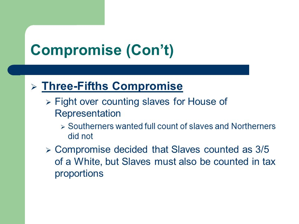 Compromise (Con't)  Three-Fifths Compromise  Fight over counting slaves for House of Representation  Southerners wanted full count of slaves and No