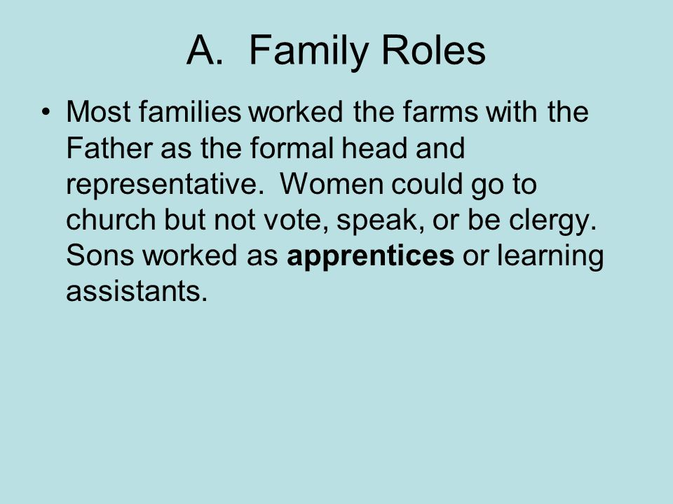 A. Family Roles Most families worked the farms with the Father as the formal head and representative. Women could go to church but not vote, speak, or