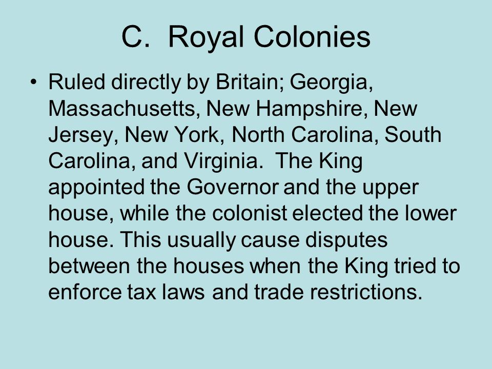 D.Voting Rights Colonial legislatures gave only some people a voice in government.