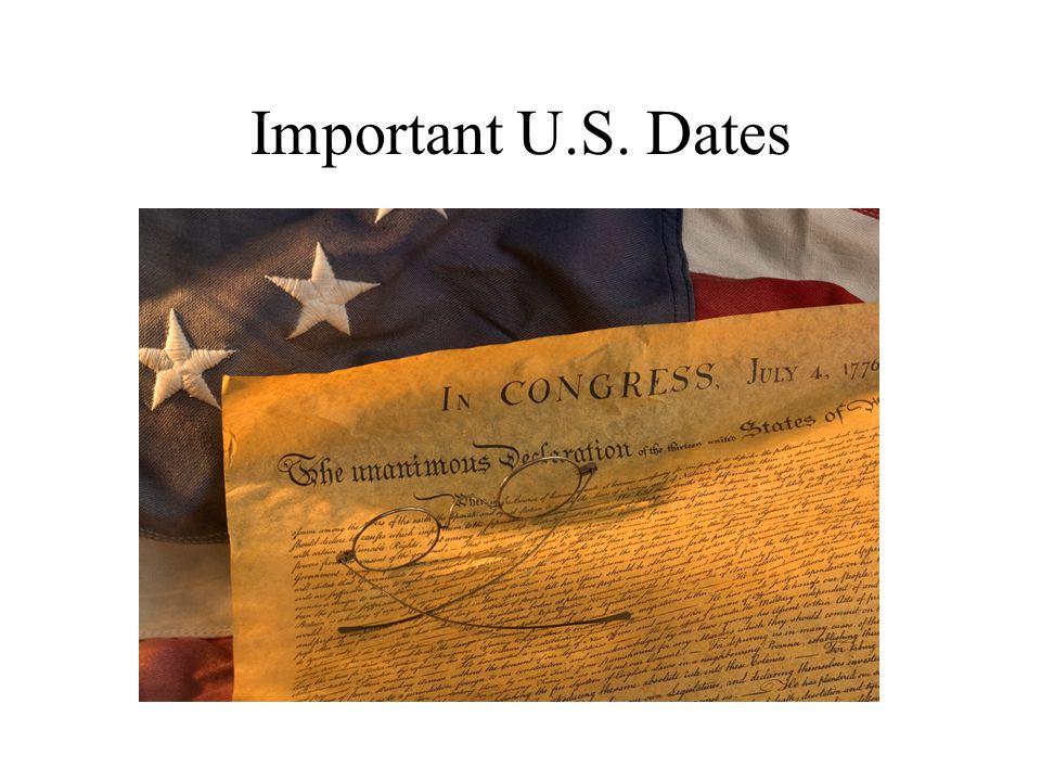 Important U.S. Dates
