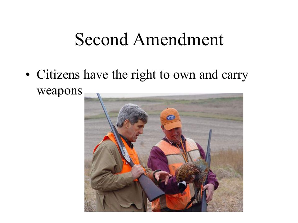 Second Amendment Citizens have the right to own and carry weapons