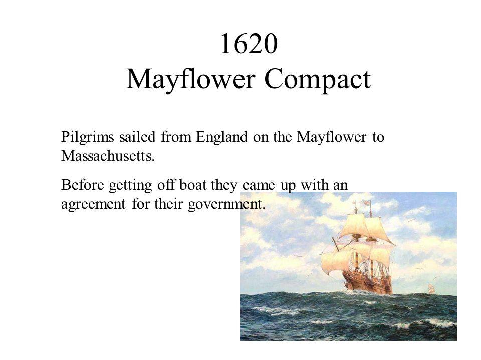 1620 Mayflower Compact Pilgrims sailed from England on the Mayflower to Massachusetts.