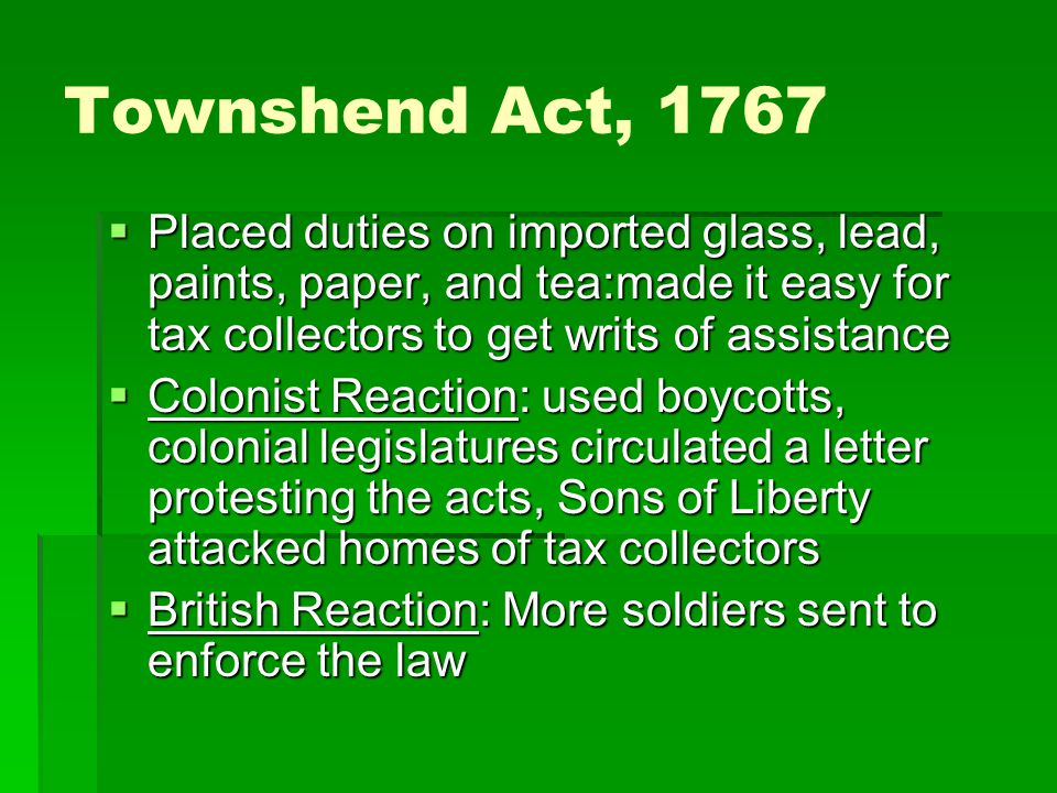 First Continental Congress, 1774  Issued Declaration of Rights to Britain  Agreed not to import or use British goods  Agreed to stop exports to Britain  Olive Branch petition.