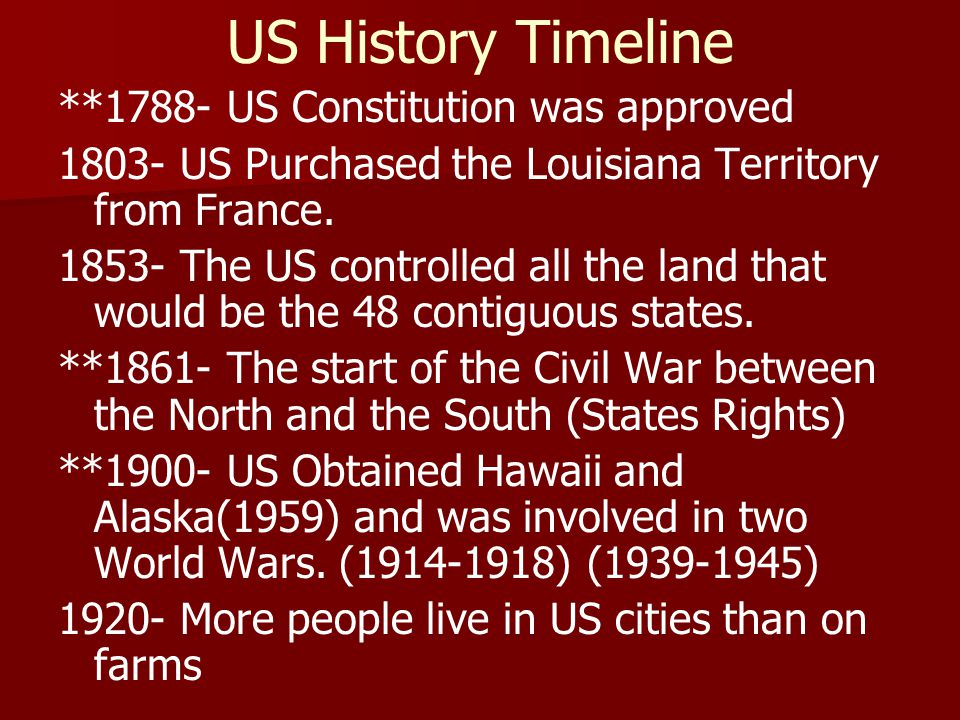 US History Timeline **1788- US Constitution was approved 1803- US Purchased the Louisiana Territory from France.