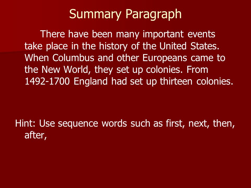 Summary Paragraph There have been many important events take place in the history of the United States. When Columbus and other Europeans came to the