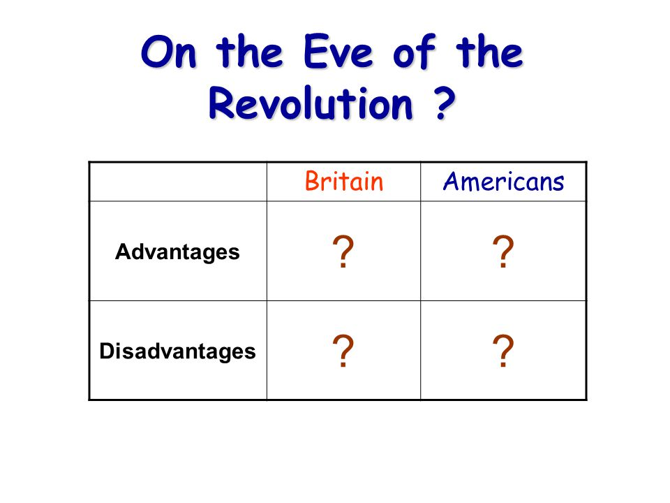 BritainAmericans Advantages Disadvantages On the Eve of the Revolution