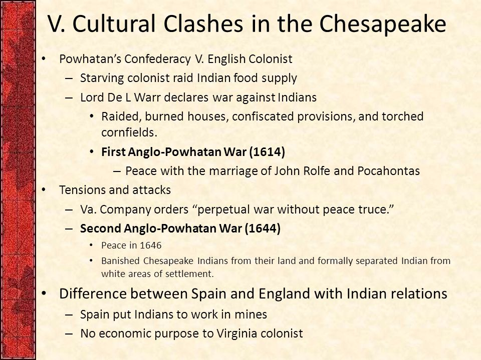 V.Cultural Clashes in the Chesapeake Powhatan's Confederacy V.
