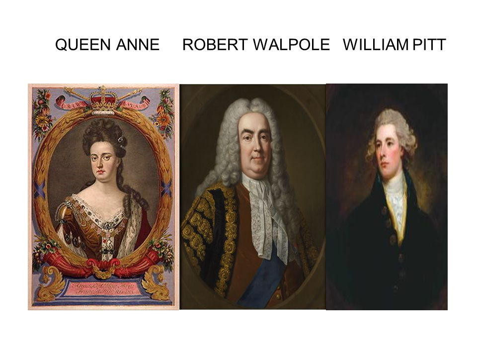 QUEEN ANNE ROBERT WALPOLE WILLIAM PITT