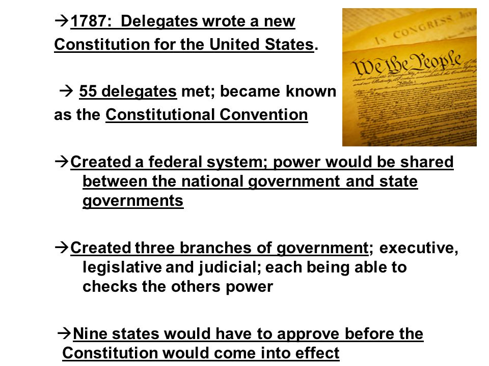  1787: Delegates wrote a new Constitution for the United States.  55 delegates met; became known as the Constitutional Convention  Created a federa