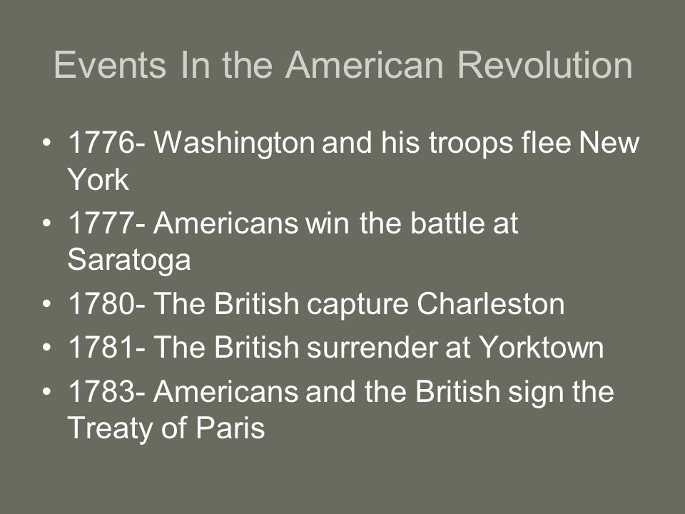 Events In the American Revolution 1776- Washington and his troops flee New York 1777- Americans win the battle at Saratoga 1780- The British capture Charleston 1781- The British surrender at Yorktown 1783- Americans and the British sign the Treaty of Paris