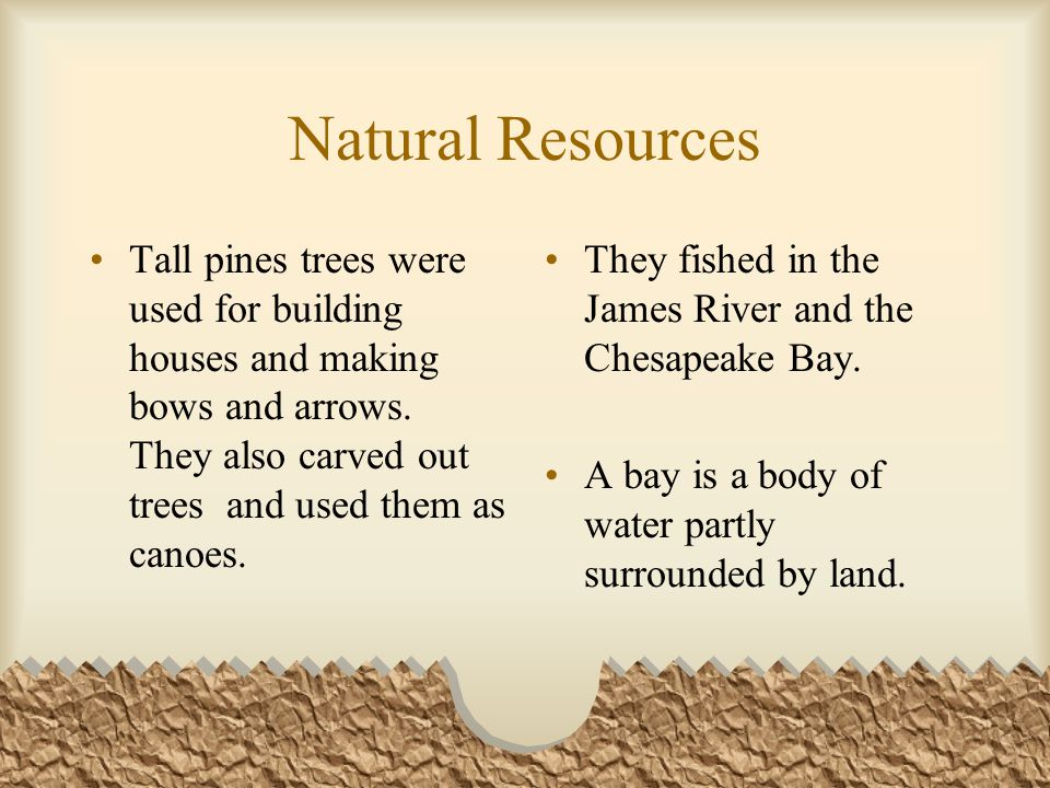 Natural Resources Tall pines trees were used for building houses and making bows and arrows.
