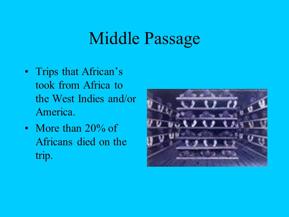 Middle Passage Trips that African's took from Africa to the West Indies and/or America.