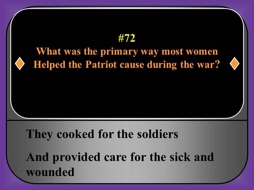 #72 What was the primary way most women Helped the Patriot cause during the war?